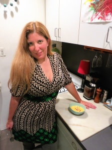 Natalie in her Brooklyn kitchen with her Oregon soup.